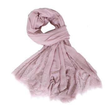 Women Modal cotton rhinestone Hijab scarf shawls sparking diamond muslim Turban wraps fringe shawls long wrap scarves 190*120cm - DISCOUNT ITEM  7% OFF All Category