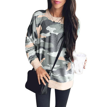 Printed Sweatshirt for Women Casual Long Sleeve O Neck Hoodies Pullover Harakuku Camouflage Hoodie Tops Plus Size