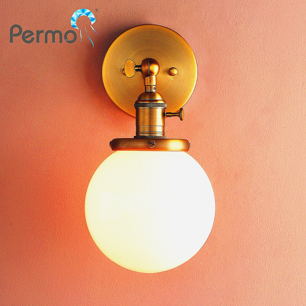 Permo Vintage Wall Lamp Milk White Glass Sconce Wall Light Loft Classical Luminaire E27 Bedroom Bedside