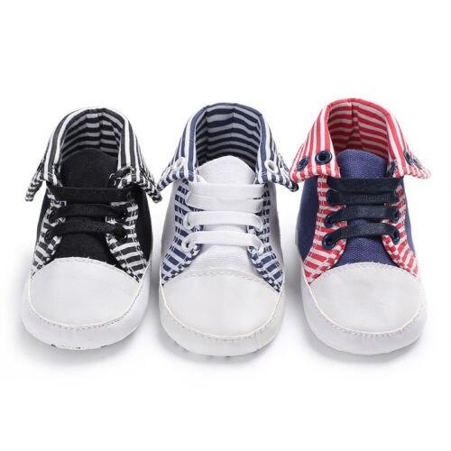 2018 Spring Fashion Toddler Baby Shoes Newborn Boys Girls Soft Soled Princess Crib Shoes Striped Prewalker