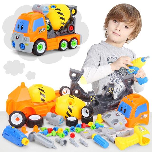 DIY Pembongkaran Perakitan Mainan untuk Anak-anak Insinyur Truk Mobil Helikopter Kereta Pendidikan Blok Mainan Sekrup Nut # Car007