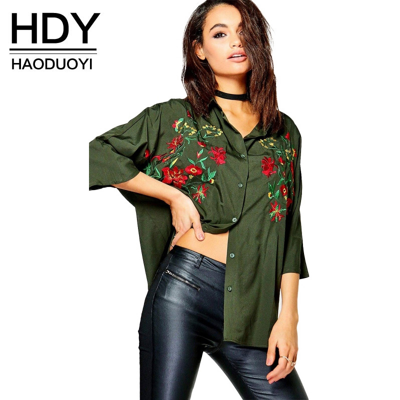 HDY Women Floral Embroidered Blouse Long Sleeve Floral Blouses 2018 Flower Shirts Femme Army Green Blouse and Tops Plus Size