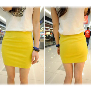 Image 5 - Fashion Women Ladies Sexy Summer Package Hip Pencil Skirt Seamless Elastic Pleated High Waist Slim Mini Skirts For Office Party