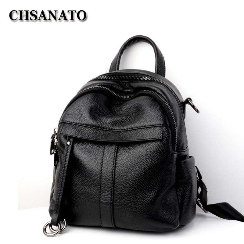 CHSANATO Women Genuine Cow Leather Bag High Quality Women Backpack Mochila Feminina School Bag For Teenagers