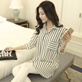 Chiffon camisa feminina 2016 das mulheres soltas de médio-longo tarja quinto manga plus size top