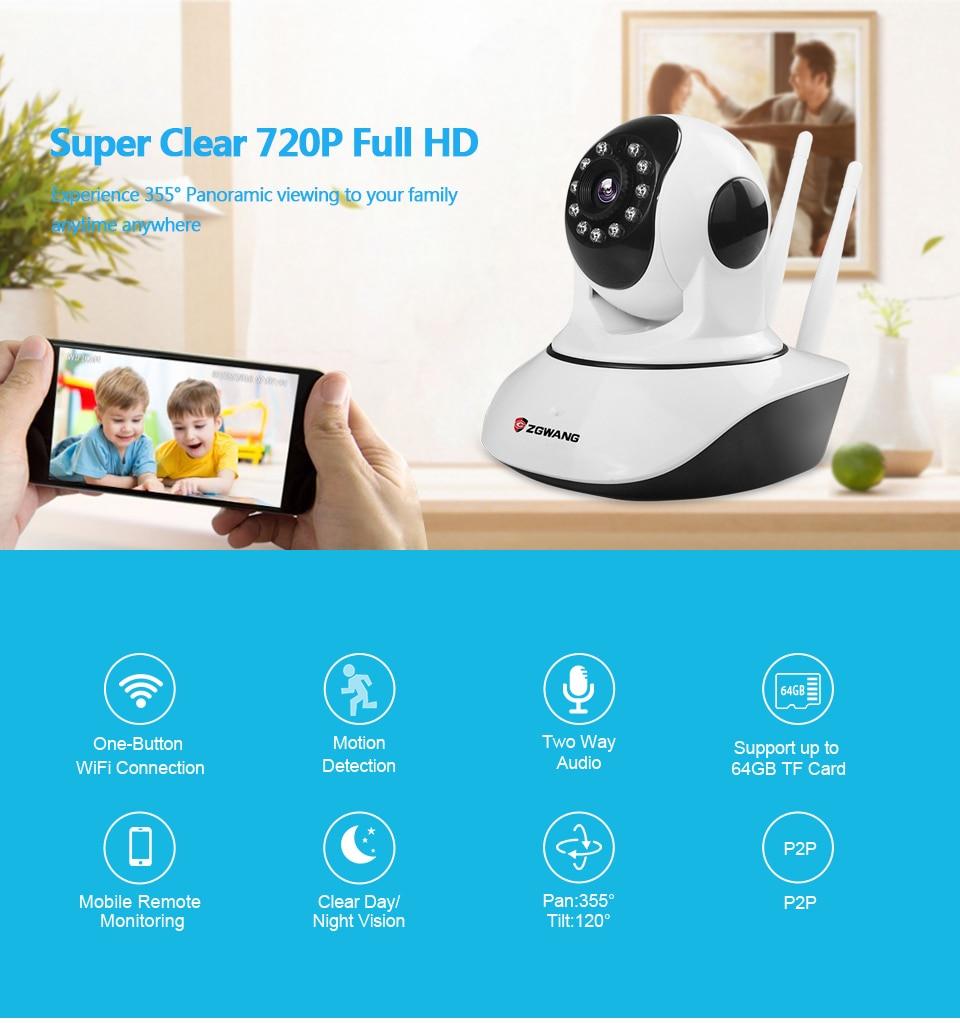 ZGWANG X6 Trådlös IP-kamera 720P Nätverk CCTV-säkerhetskamera WiFi Wi-fi Videoövervakningskameror IR-Cut Night Vision Audio