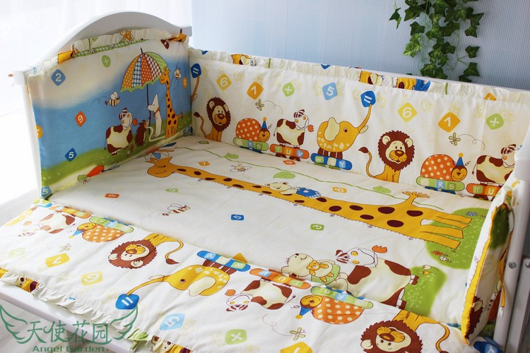 Promotion! 6PCS crib baby bedding setsbed linen 100% cotton cot bedding sets include(bumpers+sheet+pillow cover)