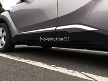 ABS Chrome 4pcs Exterior Accessories Side Panel Door Body Molding Cover Trim Car styling 2016 2017 For Toyota C-HR