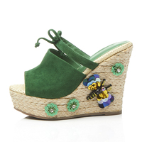 KSJYWQ Summer Style Women Mules Sexy Peep-toe Slides Slippers 9 cm High heels Green Wedges Pumps Butterfly Box Packing Q-822