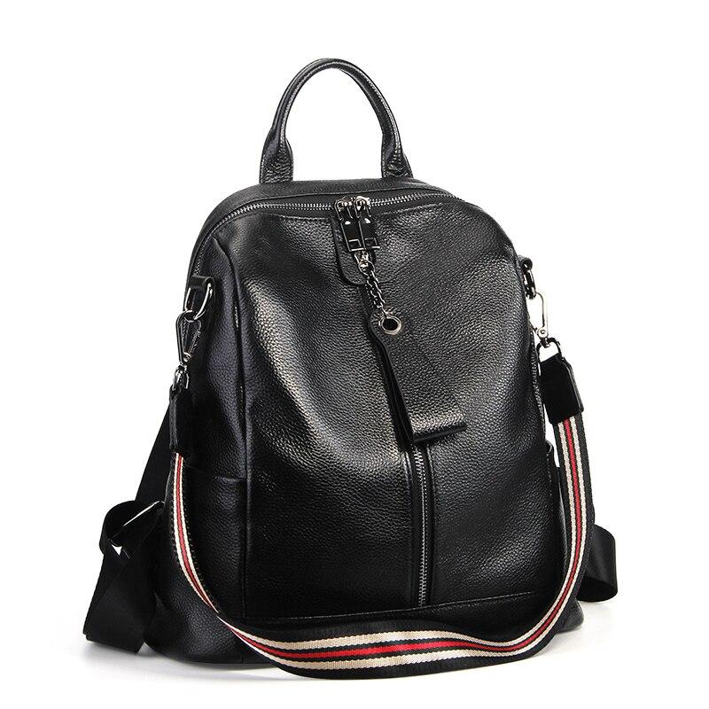 Nesitu haute qualité nouvelle mode noir en cuir véritable femmes sac à dos femme fille sacs à dos dame voyage sac sacs à bandoulière # M007 - 2
