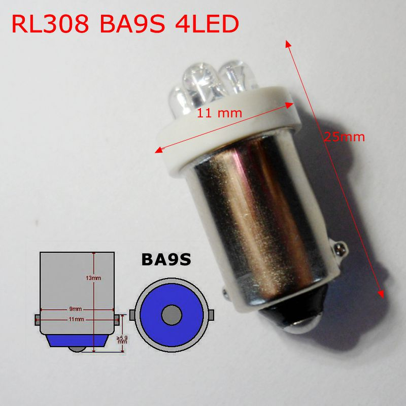 Free shipping (100pcs/lot)auto <font><b>led</b></font> light bulbs 12V BA9S H6W 4LED R5W High quality light source machine working bulbs RL308