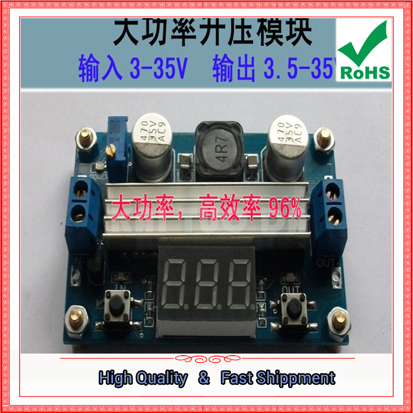 2pcs DC-DC step up Booster power supply module board 100W high power adjustable 3.5v~35V with digital voltmeter Boost converter
