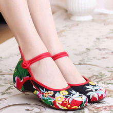 New Chinese Women Flats Old Beijing cloth embroidery shoes retro national floral embroidered dance soft canvas single shoes
