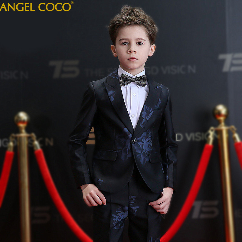2018 New Arrival Fashion Baby Boys Kids Blazers Boy Suit For Weddings Prom Formal Black/Navy Blue Dress Wedding Boy Suits 5pcs цены онлайн