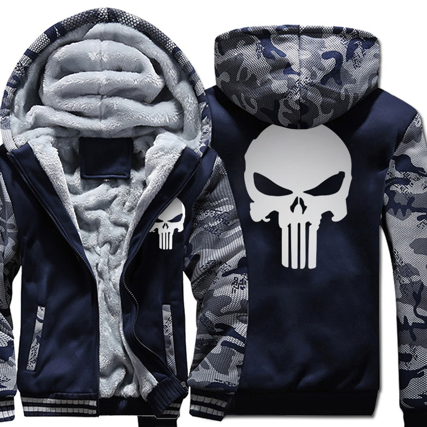 plus size fleece thicken Coat men wool liner Winter Warm Hoodies 2018 punisher Hooded Th ...