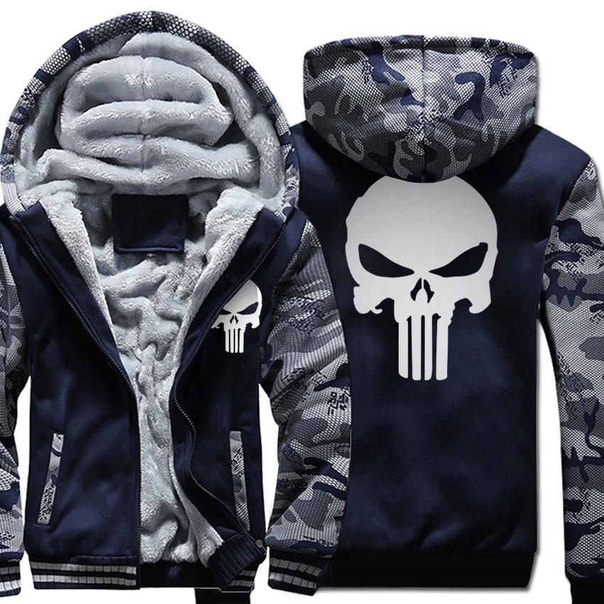 plus size fleece thicken Coat men wool liner Winter Warm Hoodies 2018 punisher Hooded Thick Zipper Jacket streetwear Sweatshirts