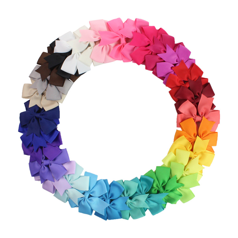 3 inch 30Pcs/pack   Grosgrain Ribbon Boutique Girls Hair Bows For Teens   hair barrttes clip hair accessories