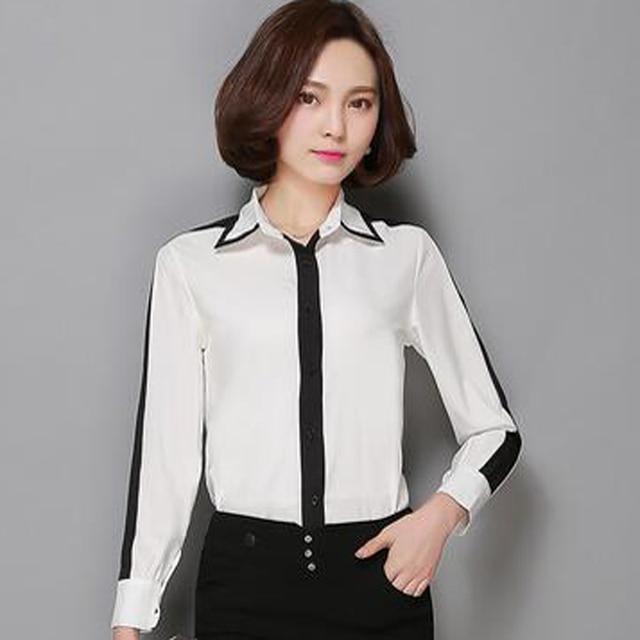 Camisas femininas Плюс размер женщины рабочая одежда блузки 2016 Шифон лоскутное длинным рукавом рубашки и блузки дамы офис рубашки