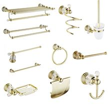 European Antique Solid Brass Bathroom Hardware Sets Gold Polished Bathroom Accessories Wall Mounted Crystal Bathroom Products european style antique bathroom towel rack set wall mounted carved bathroom hardware set luxury bathroom products