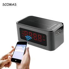 SCOMAS X16 Portable Mini Bluetooth font b Speakers b font Smart LCD Screen Alarm Clock Radio