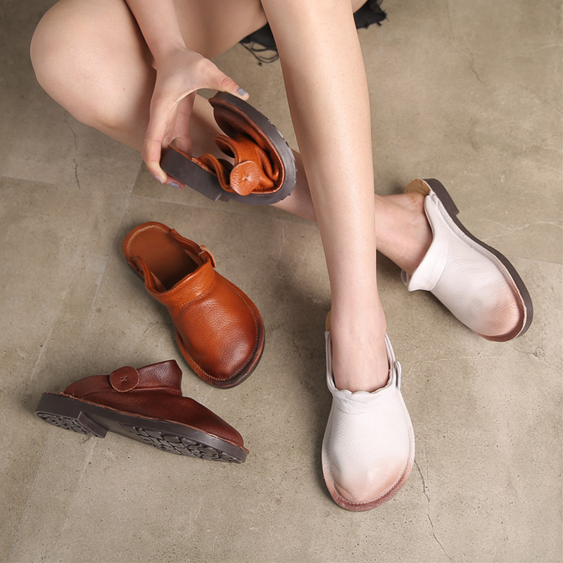 Women Leather Mules 2019 Spring Shoes Ladies White Slippers Genuine Leather Flat Heels Shoes Women Softe