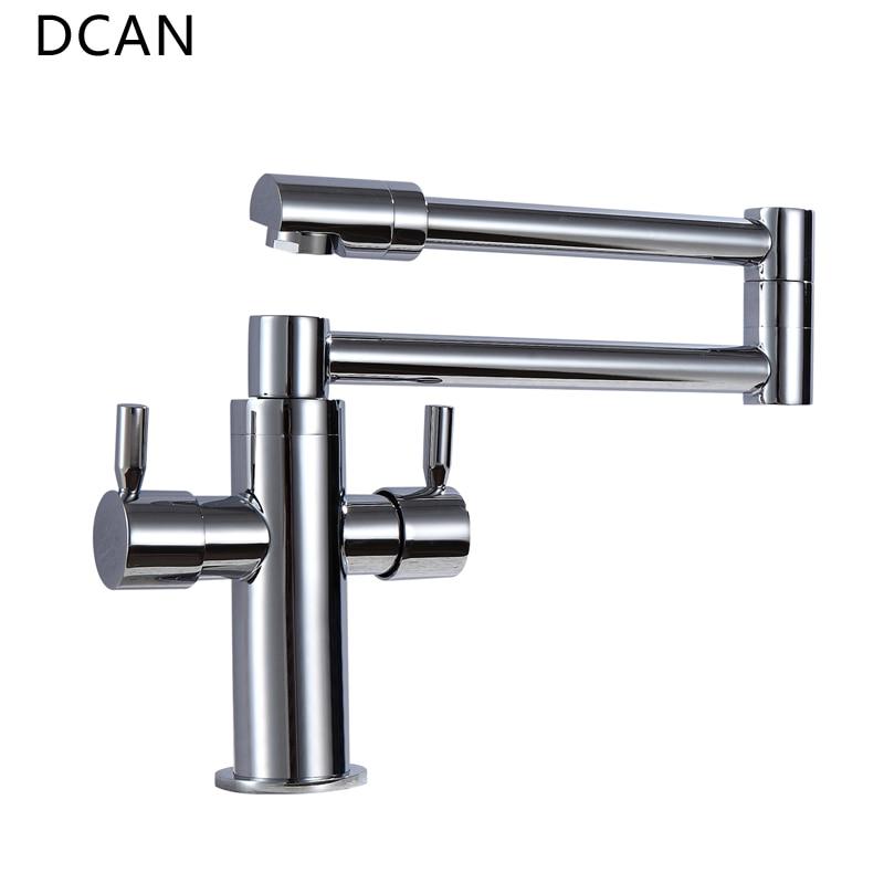 DCAN robinets de cuisine robinets d'évier de cuisine double poignée mélangeur robinet Chrome finition Pot de remplissage robinet 100% laiton robinet pliant - 4