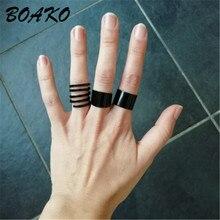 цена Fashion Matte Black Adjustable Ring Set Stack Plain Above Knuckle Finger Ring Set Tip Band Midi Rings for Women Men Boho Jewelry онлайн в 2017 году