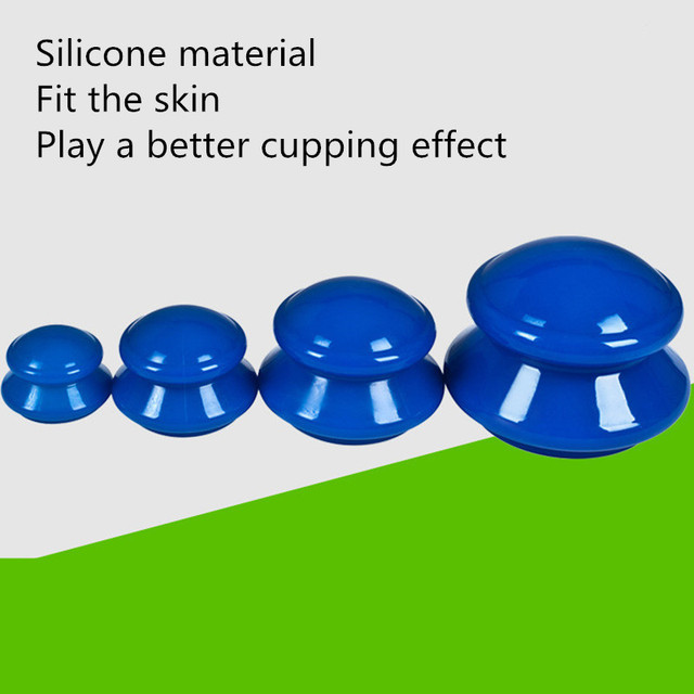 4Pcs Massage jars Moisture Absorber Anti Cellulite Vacuum Cupping Therapy for facial massage Silicone Vacuum cans for massage