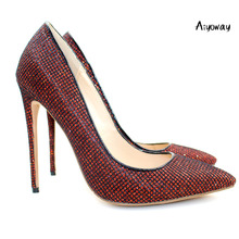 Aiyoway Fashion Women Ladies High Heel Pumps Black&red Grids Stiletto Autumn Winter Wedding Party Shoes Slip On US Size 5-15
