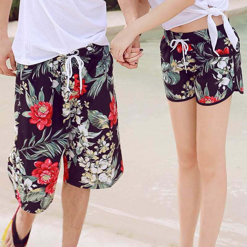 Hawaiian Style Mens And Women Casual Beach Shorts 2018 Summer New Thin Quick Dry Breathable Flowers Printing Couple Board shorts
