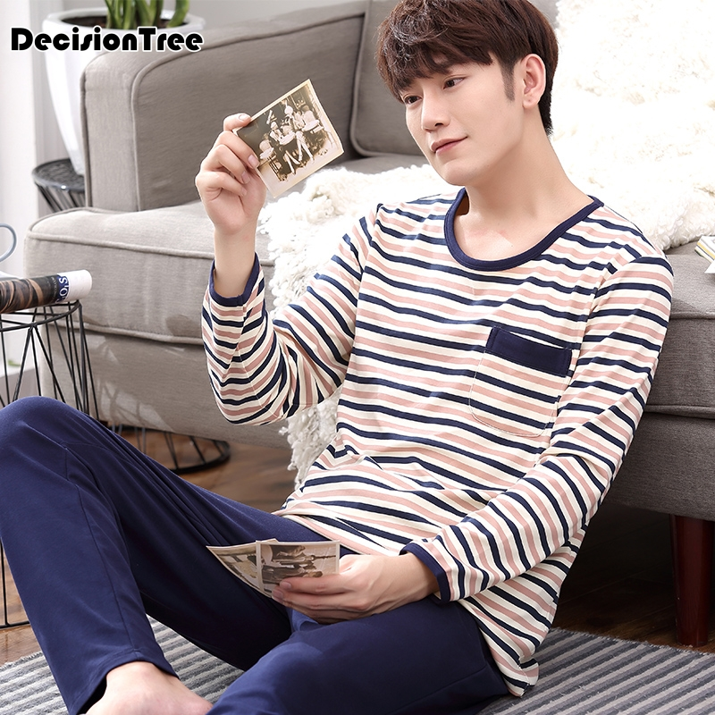 2020 Men Pajamas Full Sleeve Male Pajama Set Pure Full Cotton Letter Pajama For Men Sleepwear Suit Homewear