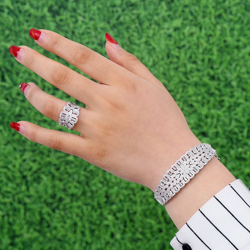 GODKI Luxury Cubic Zircon Crystal CZ Jewelry Sets For Women Wedding African Bridal Bangle Ring Set aretes de mujer modernos 2018