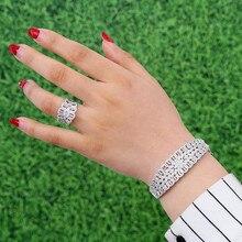 GODKI de lujo de circón cúbico cristal CZ juegos de joyas para mujer boda Africana conjunto de anillo de brazalete aretes de mujer modernos 2018