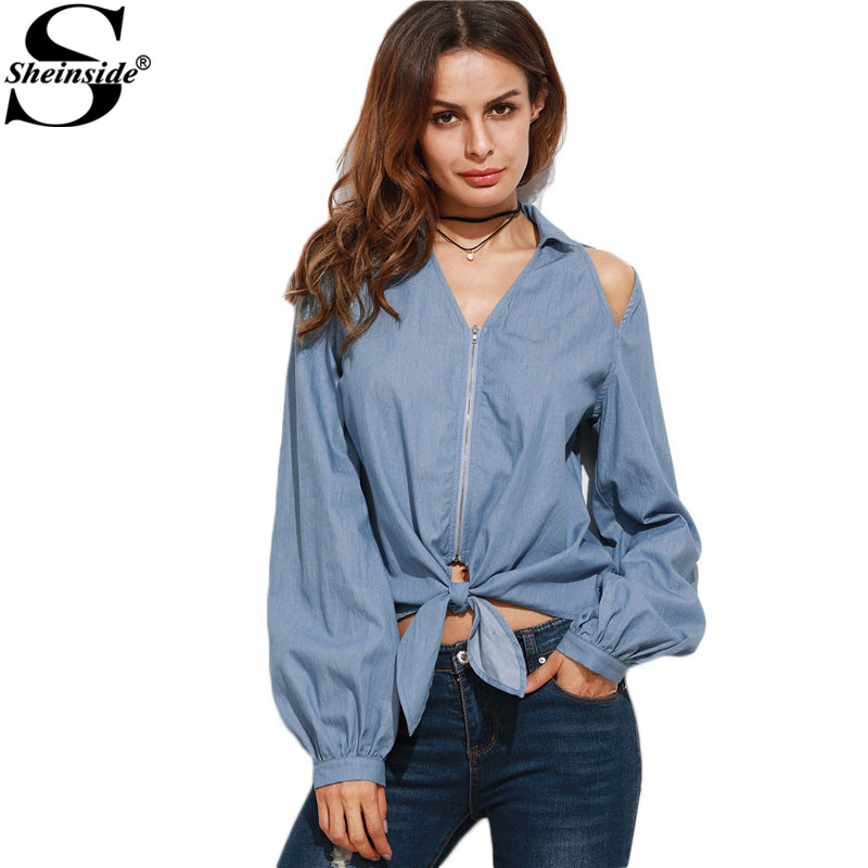 Sheinside Women Shirts Blouses Women Fashion Clothes Women Loose Shirt Blue Cutout...