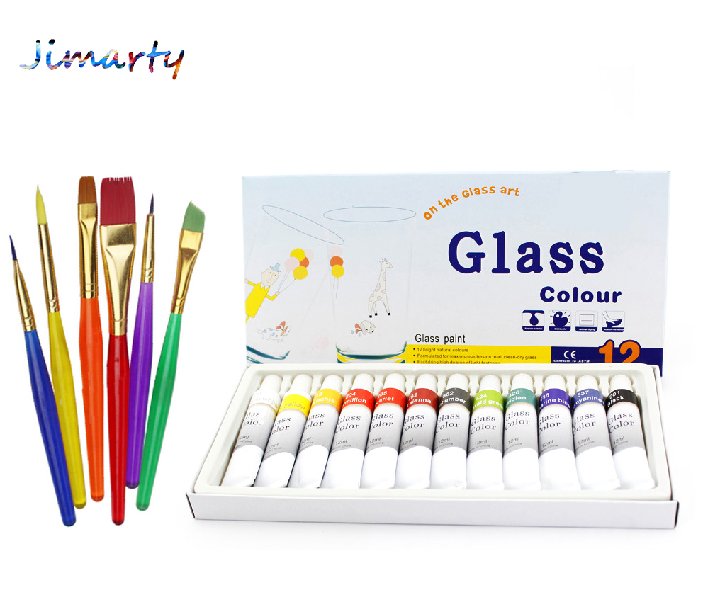 Glass Paint Color set Acrylic Paint Hand Painted Pigments 12 Colors 12ML Color art set with 6pcs paint brushes