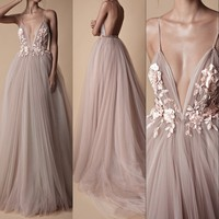 Summer Tulle Long Evening Dress 2018 Backless Court Train 3D Floral Flowers Blush A Line Special Occasion Prom Dress Party Gowns