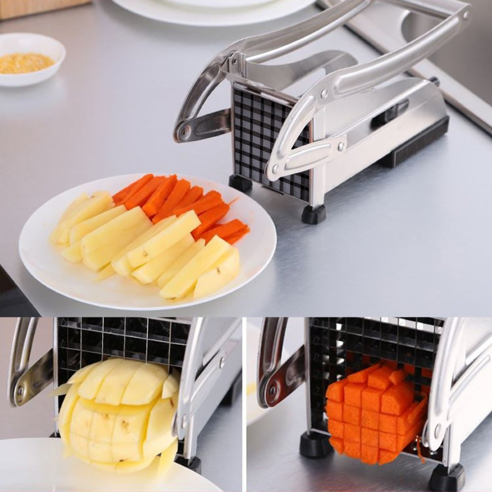 Нержавеющая Сталь Ручной Французский нарезка для картофеля фри Чиппер Чоппер запарник для приготовления картофеля чипсы машина