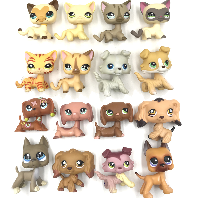 pet shop toys 10pcs/lot toys animal short hair cat collie great dane dachshund cocker spaniel dog random 10 pieces