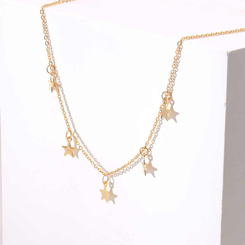 5ebca53058b3a Fashion Dainty Chains Star Choker Necklace for Women Stainless Steel Gold  Tone Kolye Female Jewelry