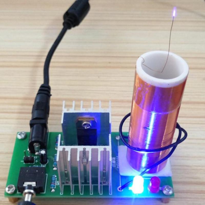 ALLOYSEED Mini Musique Tesla Coil DIY Projet Kit 15 W DC 15-24 V Plasma Haut-Parleur Sans Fil Conseil Transmission Module Électronique Domaine