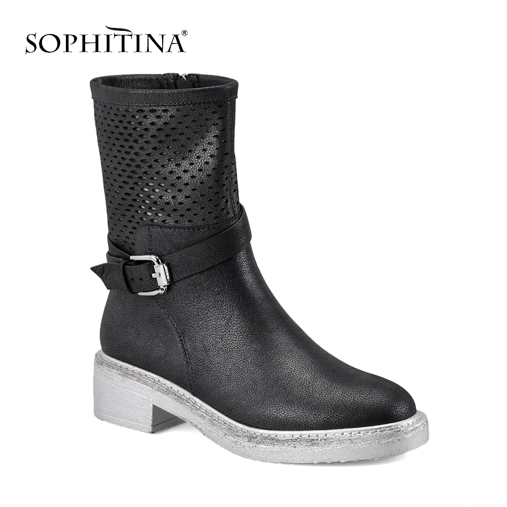 Confortable En Bottes Boucle Main 2018 Luxe Black Cuir Sophitina Véritable Femelle Femme M27 Mode Carré Automne De Talon 4xO0YZqwnE