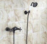 Free shipping Classial Dual Handles faucet Set Black Shower Faucet Handheld Shower Head Hot & Cold Bathroom Faucet Set ZR032