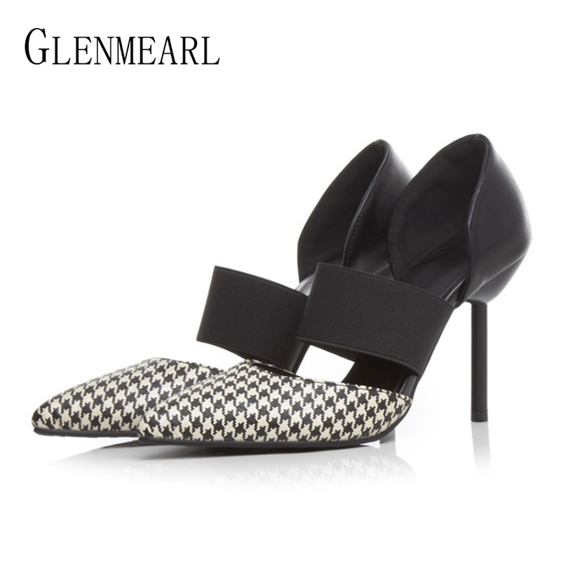 Women Shoes High Heels Brand Woman Pumps Spring Pointed Toe Black Ladies Dress Shoes Heels Women Party Shoes Chaussure Femme DE brand women pumps high heels shoes leather spring wave point single women dress shoes thin heels pointed toe party pumps lady de
