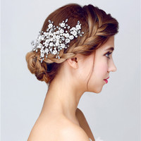 Bride White Pearl Braided Flower Crystal Rhinestone Handmade Hair Stick Hairpin Wedding Bridal U Shape Hair