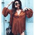 Cáqui curto feminino vestido 2016 novo designer primavera verão longo manga solta plissado vestidos moda 20 s mulheres decote em v profundo outfits