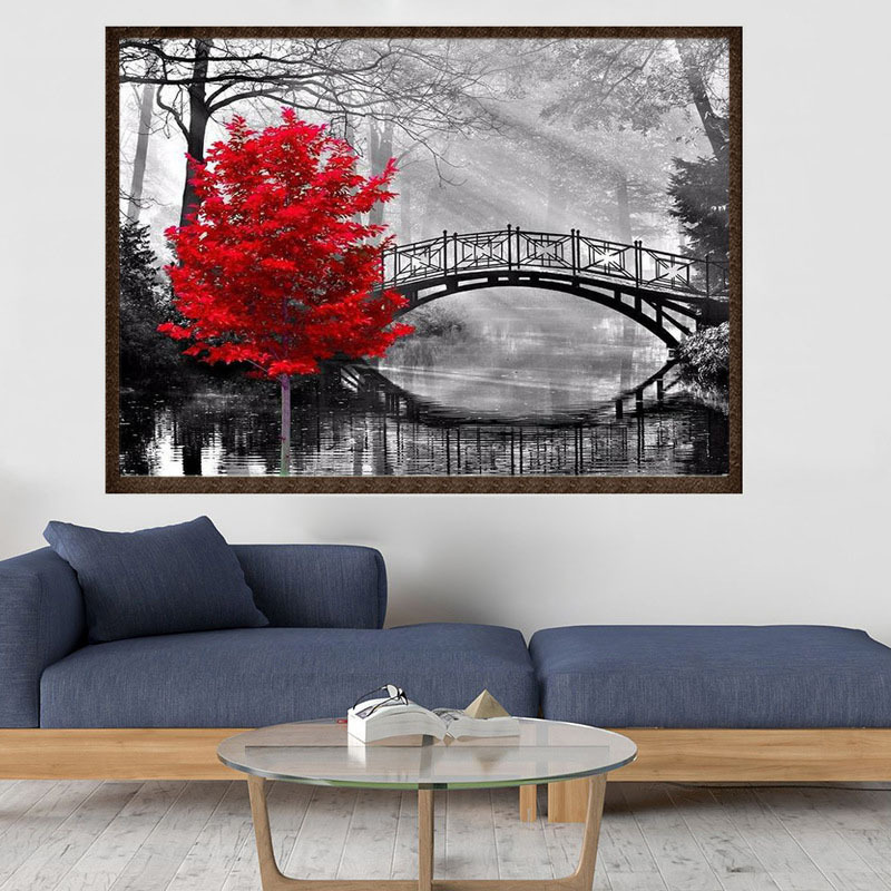 5D DIY diamond painting bridge stream maple red leaves full drill square round diamond embroidery cross stitch rhinesto mosaic in Diamond Painting Cross Stitch from Home Garden