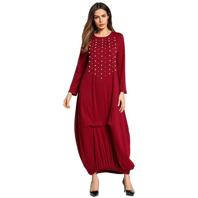 new concept 4e561 c206e Genagelt Perle Perlen Nahen Osten Muslimischen Robe frauen Kleidung Lange  Kleider Wein rot Langarm Elegante Maxi TA5705