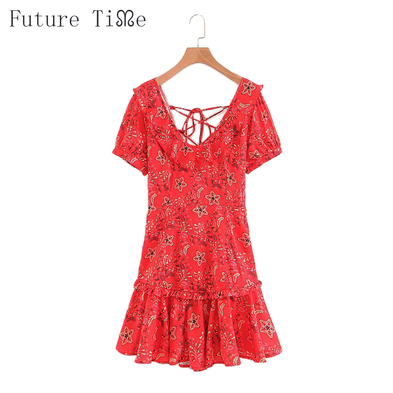 Future Time Summer Dresses 2018 Flower Printing Women Dress Back Bandage Deep V-Neck Collar Short Sleeve Sexy Mini Dress DR540