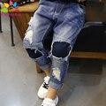 Enbaba дети мальчики зима теплая случайные мальчиков джинсовые рваные джинсы дети джинсы для подростков мальчиков детей брюки брюки