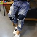 Enbaba jeans infantil chicos calientes del invierno casual niños bebés denim pantalones de los niños pantalones vaqueros rasgados pantalones vaqueros de los niños de los muchachos adolescentes